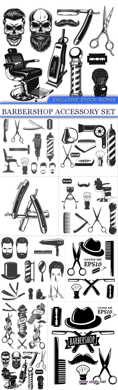 Barbershop accessory set 9X EPS