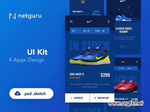 Shoes eCommerce Mobile App UI Kit PSD Template
