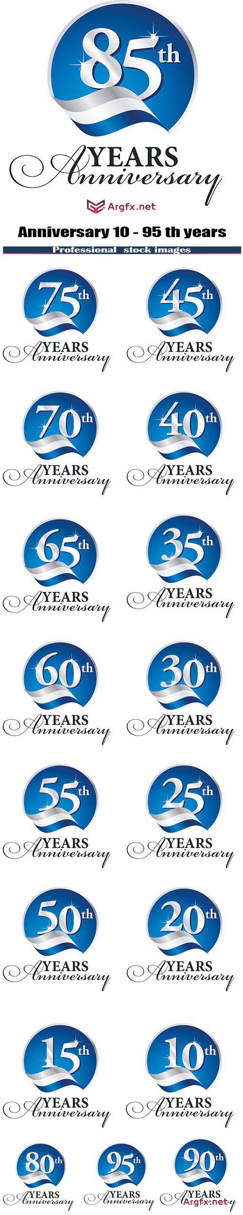 Anniversary 10 - 95 th years celebrating logo