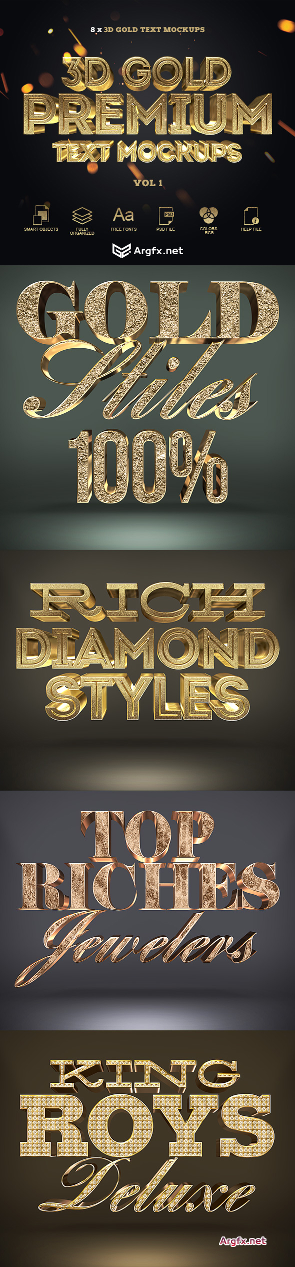 Graphicriver 3D Gold Text Styles 20000637
